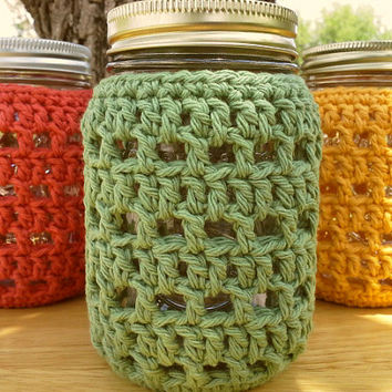 Mason Jar Cozy - Pint Sized Jar Cover - Crochet Bottle Cozy - Luminary Cover - Cotton - Choose Color - Food Gift Idea - MADE TO ORDER