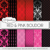 "Boudoir digital paper ""RED & PINK BOUDOIR"" sexy red and pink backgrounds, damasks, pearls, fishnets, boudoir photography, scrapbooking"