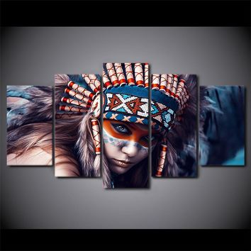5 Panel Canvas Art American Indian Girl Print Wall Art on Canvas for Living Room