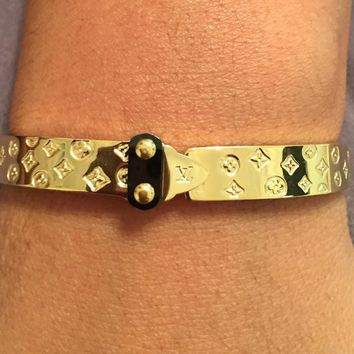 KC Luxurys Louis Vuitton Inspired Tone Hardware Cuff Nanogram LV Monogram Bangle Bracelet