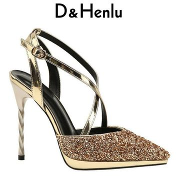 {D&Henlu} Women Ladies Sexy Pumps Shoes Woman Pumps With Ankle Strap Gold Shoes Woman High Heel Sexy Pump And High Heels Party