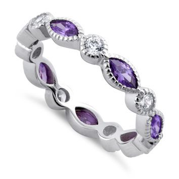 Round & Marquise-Cut Amethyst Eternity Ring