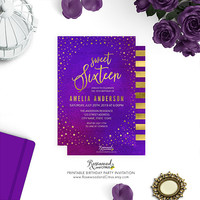 Printable Sweet 16 Birthday Invitation, Elegant Birthday Printable, Sweet Sixteen Birthday, Purple Watercolor, Starry, Stars, Faux Gold