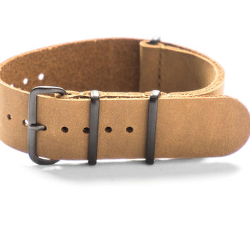 PVD LEATHER NATO STRAP KHAKI NUBUCK
