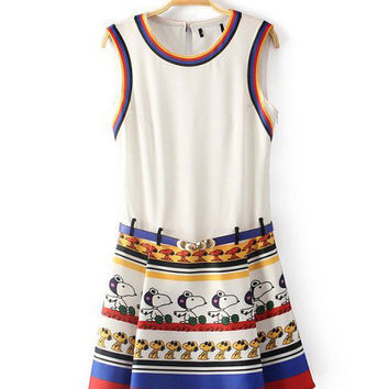 White Snoopy Print Sleeveless Pleated Mini A-line Dress