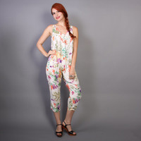 80s FRUIT Print JUMPSUIT / Loose Fit Floral Overalls Romper