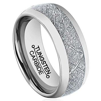 8mm Silver Tungsten Carbide Ring Vintage Meteorites Pattern Wedding Engagement Band Domed (Platinum)