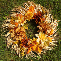 "Fall Floral Wreath - ""Natural Beauty"", Silk floral, Autumn Wreath, Palm Leaf, Door Wreath, Fall, Home Decor, Fall Wreath, Door Decor, Leaf"
