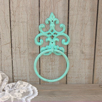 Towel Holder, Shabby Chic, Mint Green, Hand Painted, Cast Iron, Metal, Distressed, Towel Ring, Beach Decor