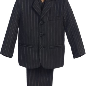 Black with Gold Pinstripe 5 Pc Formal Dress Suit (Boys 6 months - Size 14)
