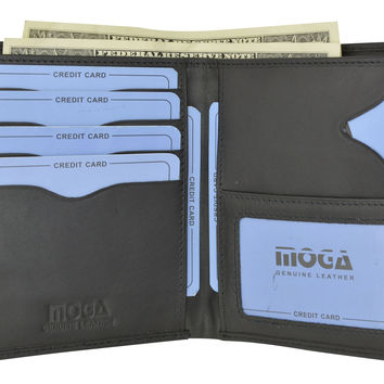 Moga Italian Design Leather Large Hipster Bifold Credit Card ID Mens Wallet 90502