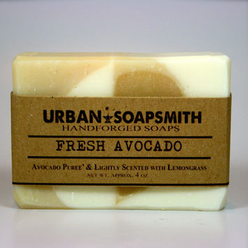 Avocado Soap - Lemongrass Scented All Natural Soap, Handmade Soap, Vegan Soap, Unisex Soap