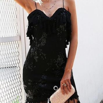 Black Spaghetti Strap Sequin Detail Tassel Trim Mini Dress