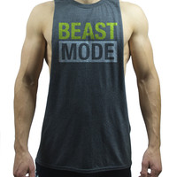 Men's Beast Mode Deep Cut Out Muscle Tank Top Shirt