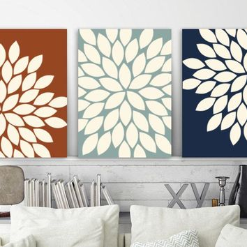 Flower Bedroom Pictures, Matching CANVAS or Prints, Flower Bathroom Decor, Flower Wall Art, Living Room Pictures, Set of 3 Artwork Pictures