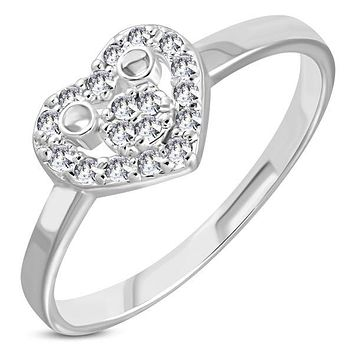 'Whole Lotta Love' Heart CZ Stone Mid-Finger Ring (c088)
