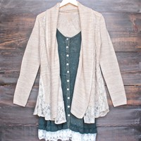 womens open front lighweight knit cardigan with lace hem in beige