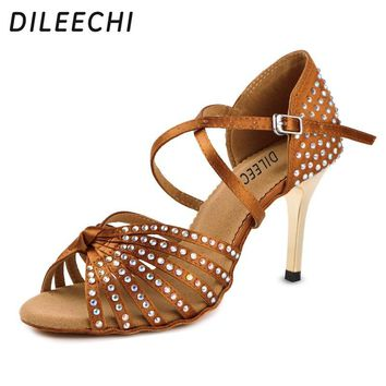 DILEECHI Satin Upper Rhinestones Sandals Dance Shoes Latin Ballroom Shoes Women Gold Heel 85mm Girls Dance Shoes Latin Black bro