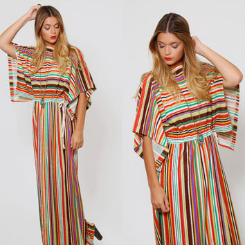 Vintage 70s Terry Cloth MAXI Dress STRIPED Beach Cover Up DOLMAN Sleeve Boho Summer Dress