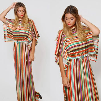95fb927883 Vintage 70s Terry Cloth MAXI Dress STRIPED Beach Cover Up DOLMAN