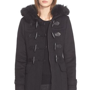 Women's Burberry Brit 'Blackwell' Wool Duffle Coat with Genuine Fox Fur Trim,