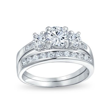 3 CT Solitaire 3 Stone CZ Engagement Wedding Ring 925 Sterling Silver