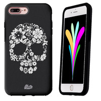 iPhone 7 Case Black Symmetry Tribal Flower Skulls by Unnito