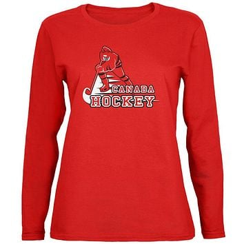 Fast Hockey Player Country Canada Womens Long Sleeve T Shirt
