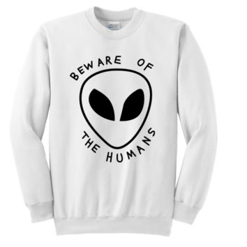 bew are of the humans alien letters sweater