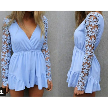 V-NECK CHIFFON FLOWER LACE JUMPSUIT
