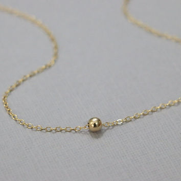Gold Filled Ball Necklace, Gold Filled Ball Bead on 14k Gold Filled Necklace Chain