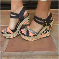 Vianca Neon Coral Tribal Wedges