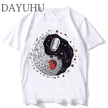 Studio Ghibli T Shirt Men Spirited Away Mononoke Printed T-shirt Funny Cartoon Boy Japanese Anime Tshirt Summer Top Tees