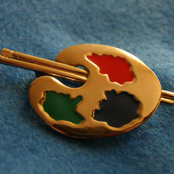 Gold Tone M LIENT Artist Pallet and Brushes Pin Or Brooch With Red Green And Blue Enameling