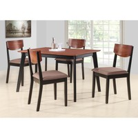 """Casey 5 Piece Walnut & Black Wood 47"""" Rectangle Transitional Kitchen Dinette Dining Table & 4 Side Chairs Set - Walmart.com"""