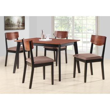 "Casey 5 Piece Walnut & Black Wood 47"" Rectangle Transitional Kitchen Dinette Dining Table & 4 Side Chairs Set - Walmart.com"
