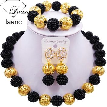 Laanc Black Simulated Pearl Beads African Jewelry Set 2017 Nigerian Wedding Necklace Sets Z6JQ018