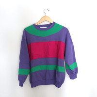 Vintage Colorblock Crewneck Sweatshirt Size MEDIUM