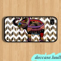 iPhone 5 Case tribal aztec Elephant on chevron wooden background iPhone Case iPhone 4 case iPhone 4s Case Hard case Silicon Soft Rubber Case