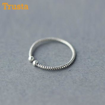 Trusta Womens's 925 Sterling Thai Silver Fashion Jewelry Cute Twist Cocktail Ring Sizable 5 6 7 Girls Kids Xmas Gift DS252