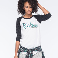 Young & Reckless Hyper Script Womens Baseball Tee Black/White  In Sizes