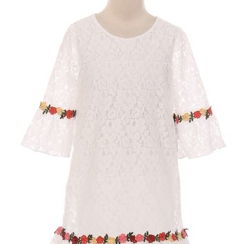 Off White Lace Shift Dress w. 3/4 Bell Sleeves & Flower Trim 2T-8