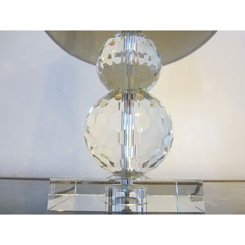Art Deco Style Hand Cut Crystal Table Lamp Drum Shade Crystal Finial
