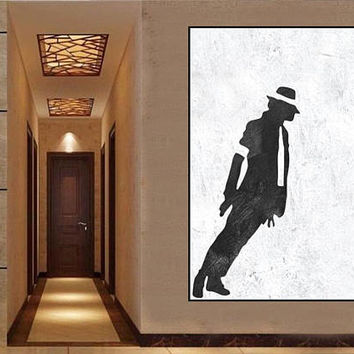 michael jackson Large Abstract Painting On Canvas Minimalist art black and white  acrylic painting