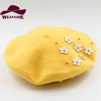 Winter hats for women Berets knitting pure wool Beret Candy Color Beret Hats Applique Flower Hats Baret Caps Boinas Mujer