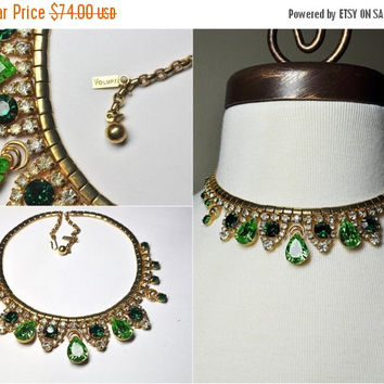 ON SALE Vintage VOLUPTE Gold & Green Rhinestone Choker Necklace, Emerald, Peridot, 1950's, Glam, Repair, Rare, Drop Dead Gorgeous! ! B112