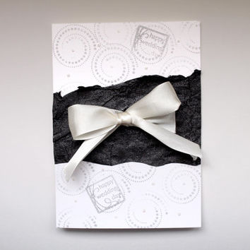 Black and White Wedding Day Greeting Card Handmade with glittery White Ribbon and black pearl paper