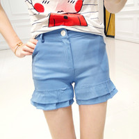 Korean cartoon T-shirt striped wood ear short shorts two sets