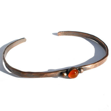 Thin and Simple Carnelian and Copper Cuff- Small to Medium