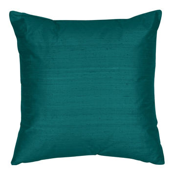 Throw Pillow Cover - Silk Dupioni Decorative Pillow -16,18,20,22,24 inch  Pillow Cushion - Silk Fabric: Oriental Blue